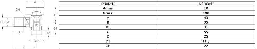 مشخصات فنی شیر ماشین لباسشویی برنجی سیم ایتالیا Cim 39L - PN16
