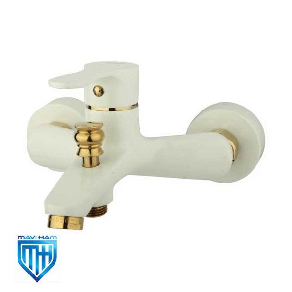 شیر حمام سفید طلایی مدل صدف راسان