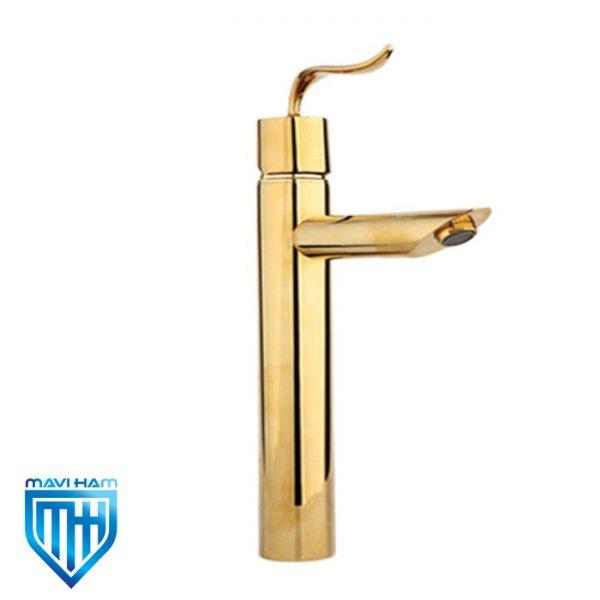 شیر روشویی پایه بلند راسان مدل پالادیوم طلایی